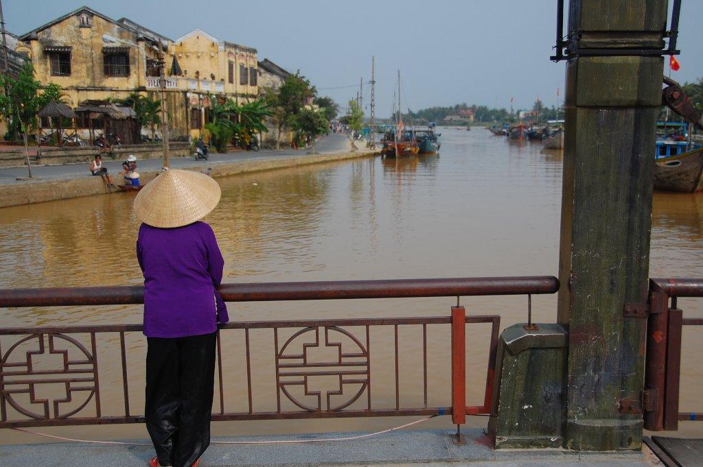 Woman on bridge in Vietnam